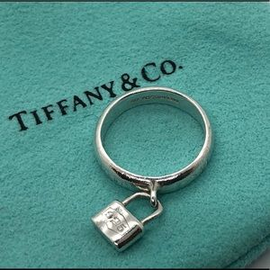 Tiffany & Co Sterling Padlock Charm Ring Size 4.75